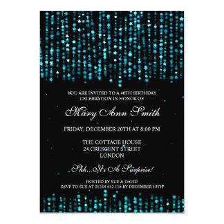 40th Birthday Party Star Confetti Turquoise 13 Cm X 18 Cm Invitation Card