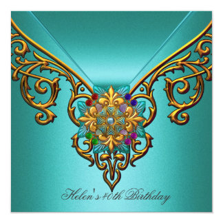 40th Birthday Party Teal Blue gold jewel Lace Card