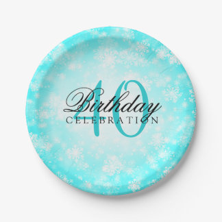 40th Birthday Party Turquoise Winter Wonderland Paper Plate
