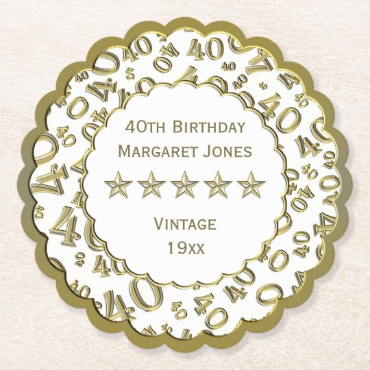40th Birthday Party White /Gold Pattern Theme Paper Coaster