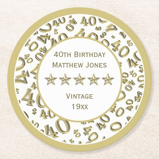 40th Birthday Party White /Gold Round Pattern Round Paper Coaster