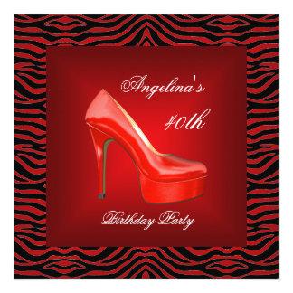 40th Birthday Party Zebra Black White Red Shoe 5.25x5.25 Square Paper Invitation Card