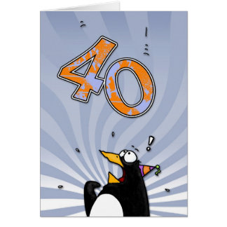 40th Birthday - Penguin Surprise Card