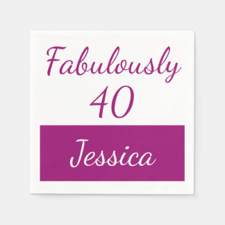 40th birthday Personalize fabulously 40 Disposable Napkin