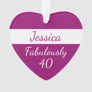 40th Birthday Personalize Fabulously 40 pink Ornament