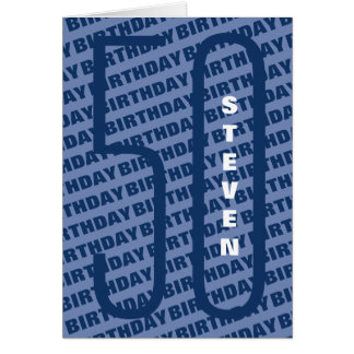 40th Birthday Personalized Blue Card