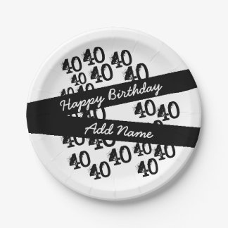 40th Birthday Personalized Funky Black White Paper Plate