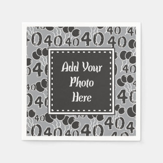 40th Birthday Personalized Photo Template Napkins Paper Napkin