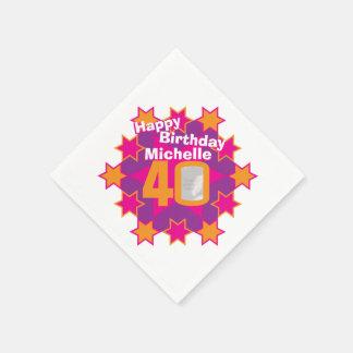 40th birthday photo and name pink star napkins paper napkins