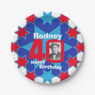 40th birthday photo name blue star paper plate