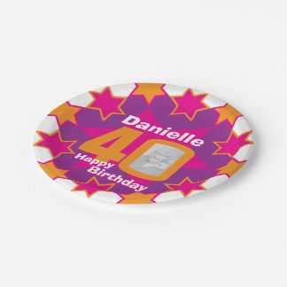 40th birthday photo name pink star paper plate