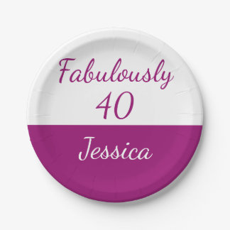 40th birthday Pink fabulously 40 Name Paper Plate