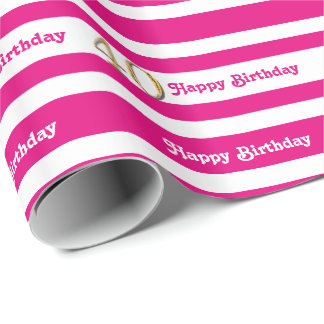 40th birthday pink gold women wrapping paper