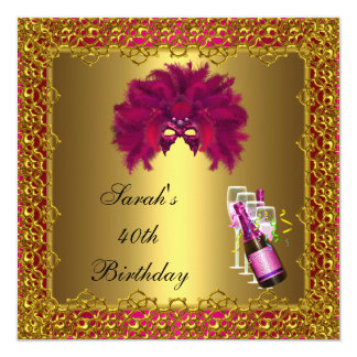 40th Birthday Pink Mask Champagne Gold Lace Card