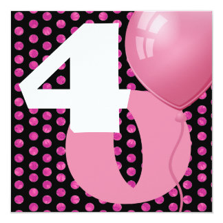 40th Birthday Polka Dots and Balloons A02 13 Cm X 13 Cm Square Invitation Card