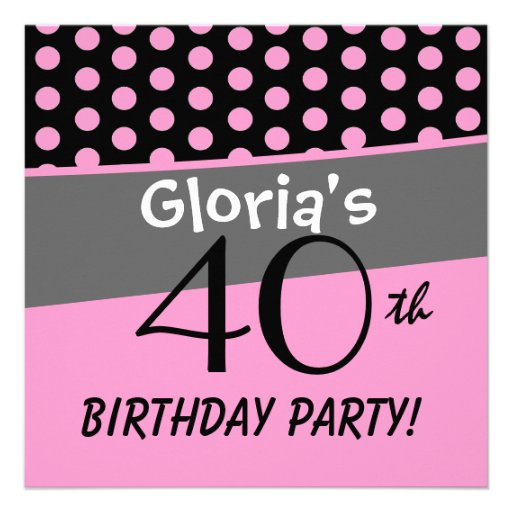 40th Birthday Polka Dots Modern Template Personalized Announcements