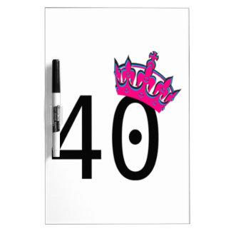 40TH Birthday Princess Dry Erase Board