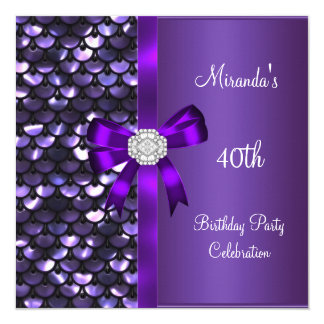40th Birthday Sequins Purple Diamond Bow 13 Cm X 13 Cm Square Invitation Card