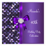 40th Birthday Sequins Purple Diamond Bow Personalized Announcements