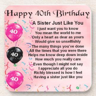 40th Birthday - Sister Poem Drink Coasters