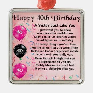 40th Birthday - Sister Poem Ornament