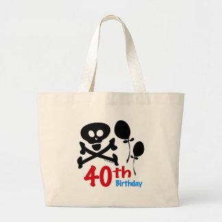 40th Birthday Skull Crossbones Jumbo Tote Bag