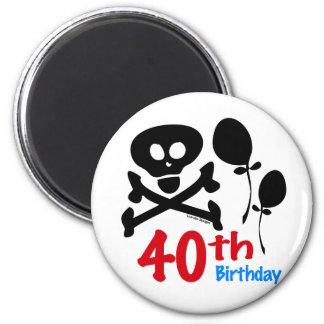 40th Birthday Skull Crossbones 6 Cm Round Magnet