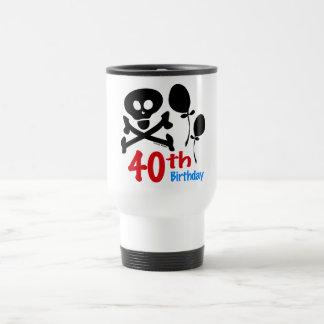 40th Birthday Skull Crossbones Stainless Steel Travel Mug