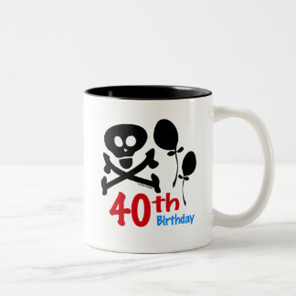 40th Birthday Skull Crossbones Two-Tone Mug