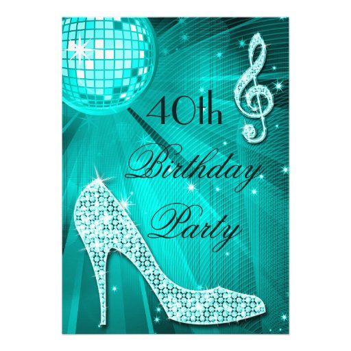 40th Birthday Sparkle Heels and Teal Disco Ball Personalized Invite