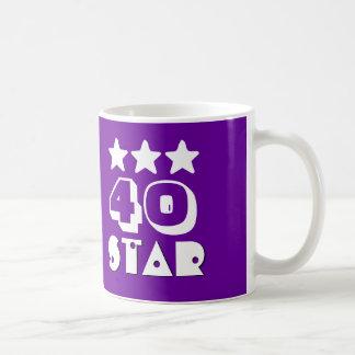 40th Birthday Star or ANY Year V12 PURPLE WHITE Basic White Mug