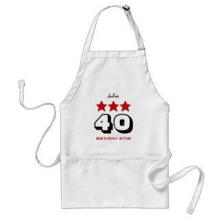 40th Birthday Star Red Black and White Z510 Standard Apron
