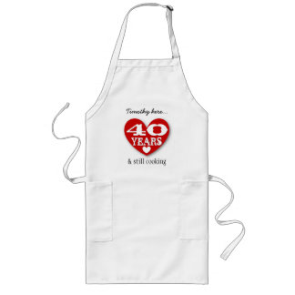 40th Birthday Still Cooking Red Heart Black 40A Long Apron