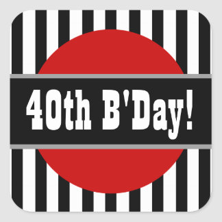 40th Birthday Stripes and Circle BLACK RED V03 Square Sticker