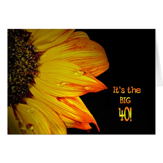 40th Birthday Sunflower Card