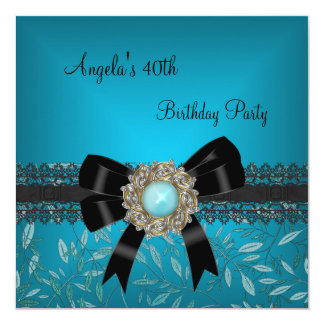 40th Birthday Teal Blue Floral Black Bow Jewel 13 Cm X 13 Cm Square Invitation Card