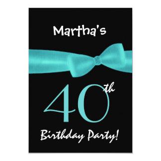 40th Birthday Template Aqua Printed Bow Custom Invitation