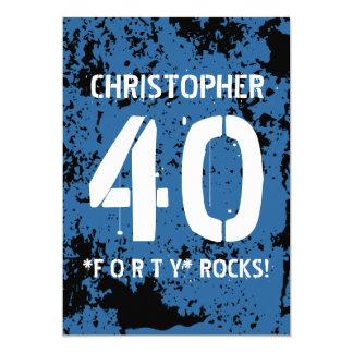 40th Birthday Trendy BLUE Grunge Pattern A10 Card