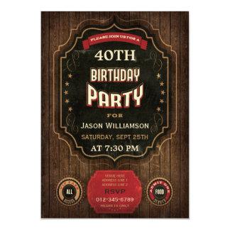 40th Birthday Vintage Chalkboard & Wood 13 Cm X 18 Cm Invitation Card