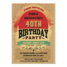 40th Birthday Vintage Typography Grunge Personalized Invitation