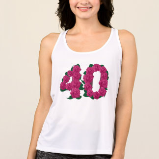 40th birthday wedding anniversary floral T-shirt