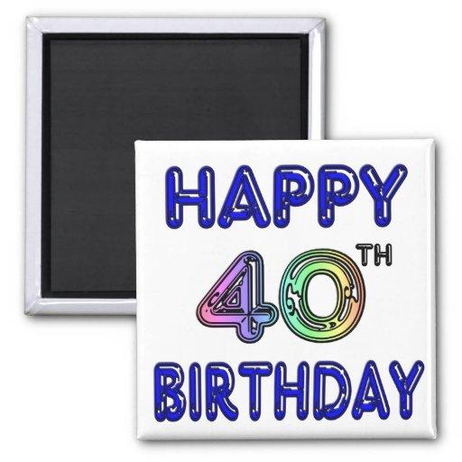 40th Birthday with Ballon Font Fridge Magnets