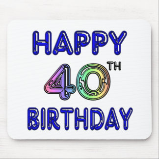 40th Birthday with Ballon Font Mouse Pads