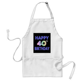 40th Birthday with Ballon Font Standard Apron