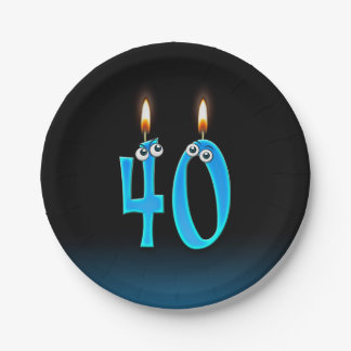40th Birthday with lit candle numbers Paper Plate