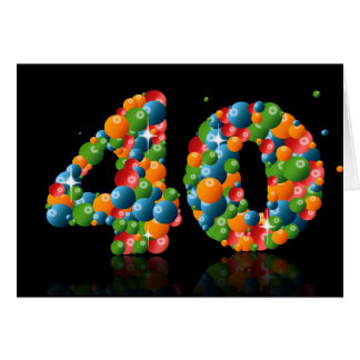 40th birthday with numbers formed from balls card