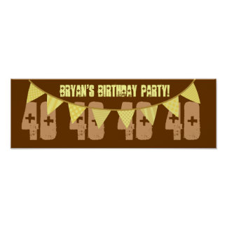 40th Birthday YELLOW Banners BROWN Background Print