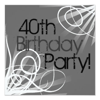 40th Charcoal Swirl Custom Invitations front/back