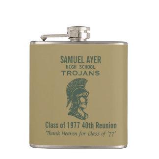 40th Class Reunion Trojan Green Gold Hip Flask