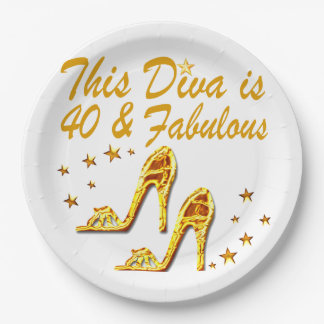40TH GOLD SHOES PAPER PLATE